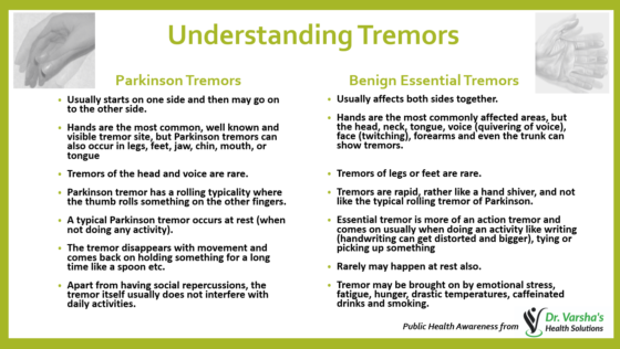 Differentiating cause of Tremors